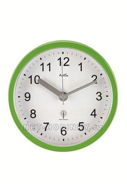 AMS Nástěnné voděodolné hodiny do bazénové haly, do koupelny na stěnu, rádiem řízený čas 5922 zelená