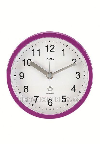 AMS Nástěnné voděodolné hodiny do bazénové haly, do koupelny na stěnu, rádiem řízený čas 5924 fialová