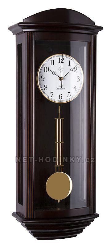 JVD Pendlovky, nástěnné kyvadlové hodiny s melodií, hodiny na zeď NR2220/23 tmavý dub