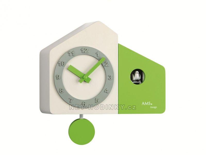 Kyvadlové hodiny AMS na zeď s kukačkou 7395 zelená