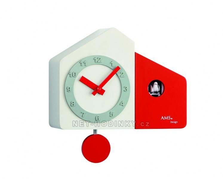 Kyvadlové hodiny AMS na zeď s kukačkou 7396 červená