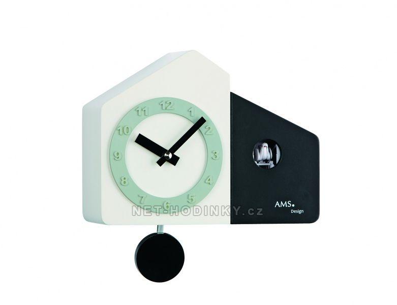 Kyvadlové hodiny AMS na zeď s kukačkou 7397 černá