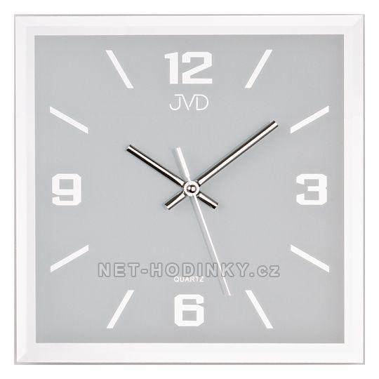 JVD Skleněné hodiny na zeď čtvercové šampaň N26113. 2.1