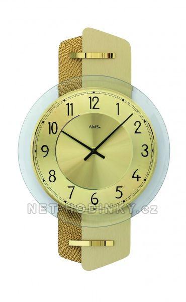 AMS Skleněné nástěnné hodiny kulaté na zeď, hodiny vyrobené v Německu 9405 zlatá kůže