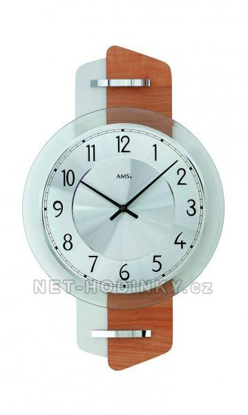 AMS Skleněné nástěnné hodiny kulaté na zeď, hodiny vyrobené v Německu 9406 stříbrná + hnědá buk