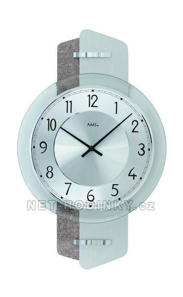 AMS Skleněné nástěnné hodiny kulaté na zeď, hodiny vyrobené v Německu 9408 stříbrná + šedá kůže