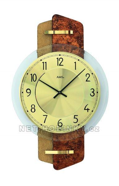 AMS Skleněné nástěnné hodiny kulaté na zeď, hodiny vyrobené v Německu 9409 hnědá + zlatá kůže