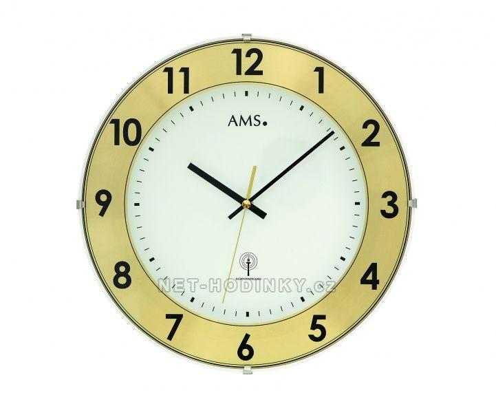 AMS Skleněné nástěnné hodiny na zeď, hodiny vyrobené v Německu 5947 zlatá