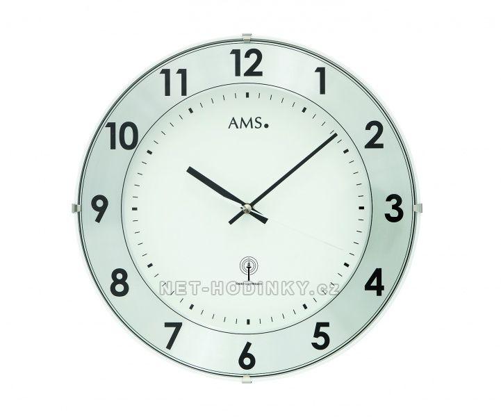 AMS Skleněné nástěnné hodiny na zeď, hodiny vyrobené v Německu 5948 stříbrná