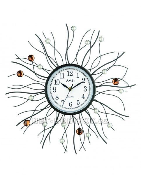 AMS Skleněné nástěnné hodiny na zeď, hodiny vyrobené v Německu