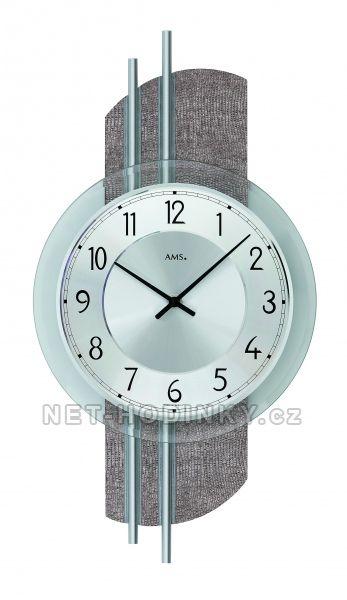 Nástěnné hodiny skleněné AMS 9412 stříbrná, AMS 9413 9412 stříbrná