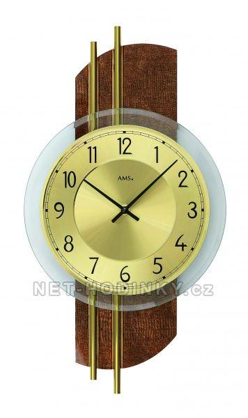 Nástěnné hodiny skleněné AMS 9412 stříbrná, AMS 9413 9413 hnědá + zlatá