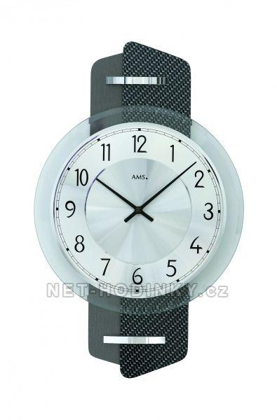 AMS Skleněné nástěnné hodiny kulaté na zeď, hodiny vyrobené v Německu 9404 tmavě šedá karbon