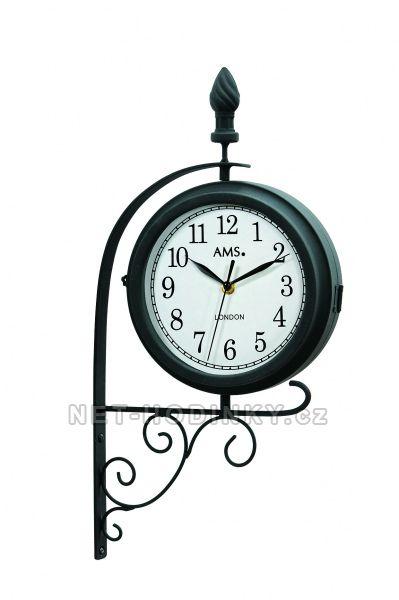 Otáčecí oboustranné nástěnné hodiny na zeď AMS 9433 motiv pouliční lampa