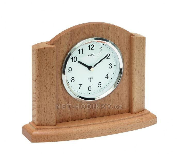 AMS stolní hodiny quartz, rádiem řízený čas, výroba Německo 5122/18 buk