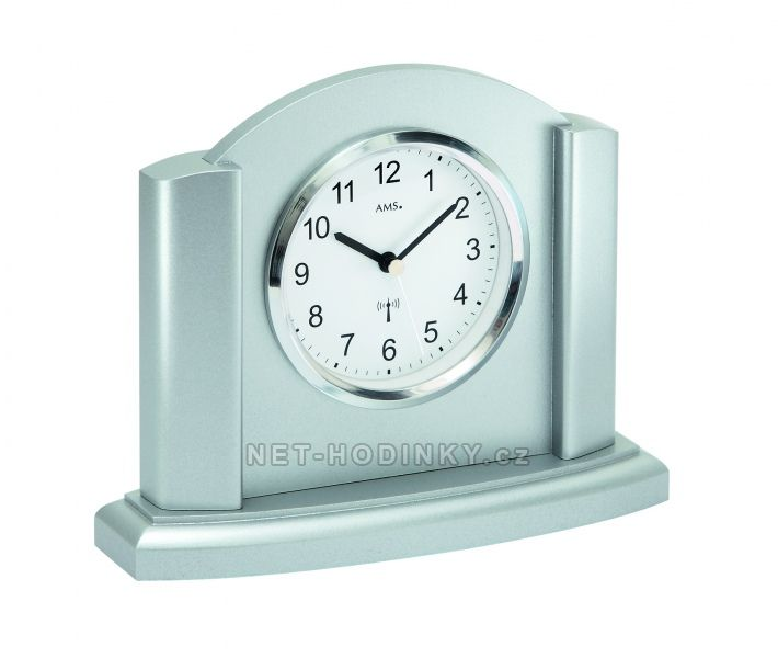 AMS stolní hodiny quartz, rádiem řízený čas, výroba Německo 5122 stříbrná