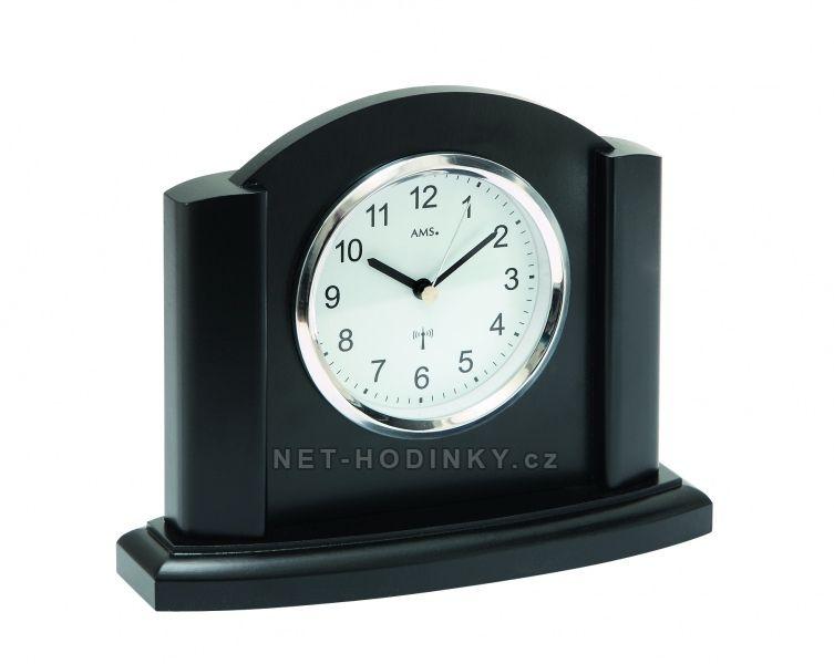 AMS stolní hodiny quartz, rádiem řízený čas, výroba Německo 5122/11 černý dub