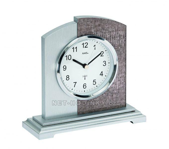 AMS stolní hodiny quartz, rádiem řízený čas, výroba Německo 5144 stříbrná