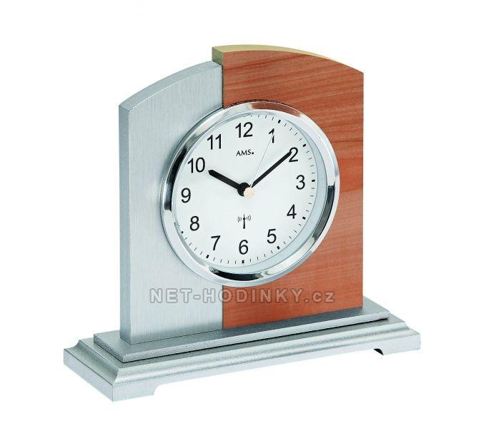 AMS stolní hodiny quartz, rádiem řízený čas, výroba Německo 5146 stříbrná + hnědá