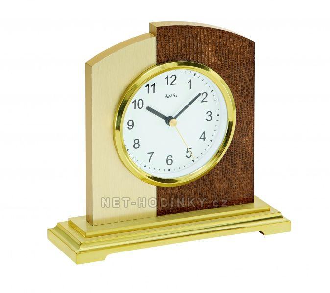 AMS stolní hodiny quartz, rádiem řízený čas, výroba Německo 5145 zlatá
