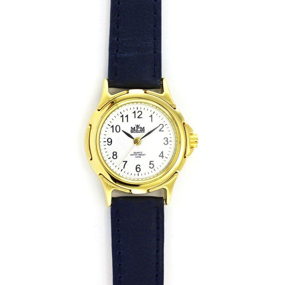 6c809d5efa5 Elegantní dámské hodinky s tmavě modrým koženým řemínkem a zlatým  pouzdrem..059 D.