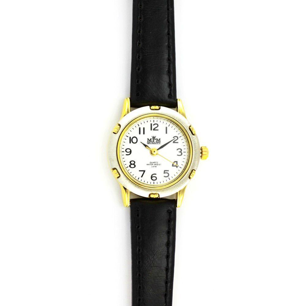 Dámské společenské hodinky s černým koženým řemínkem a stříbrno-zlatým  zdobeným pouzdrem..060 4e3ef8889a