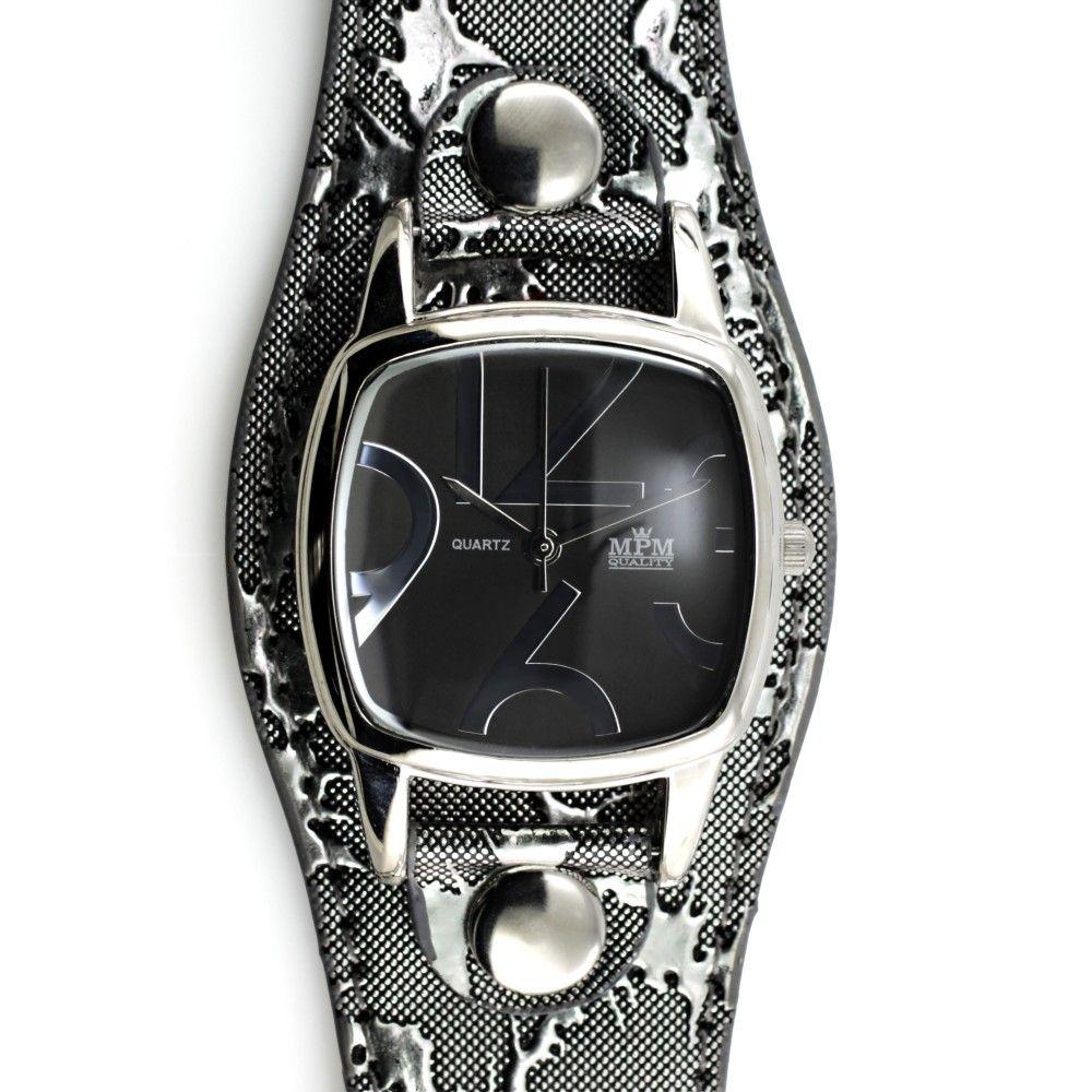 Moderní dámské hodinky se vzorovaným koženým řemínkem ve stříbrném  provedení..055 A.Q00I9070B9070 e18adadfcb