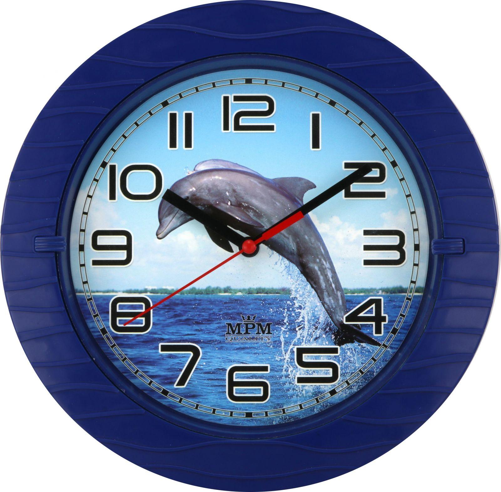 Nástěnné hodiny Nástěnné plastové hodiny s plynulým chodem a motivem delfína..051 Nástěnné hodiny