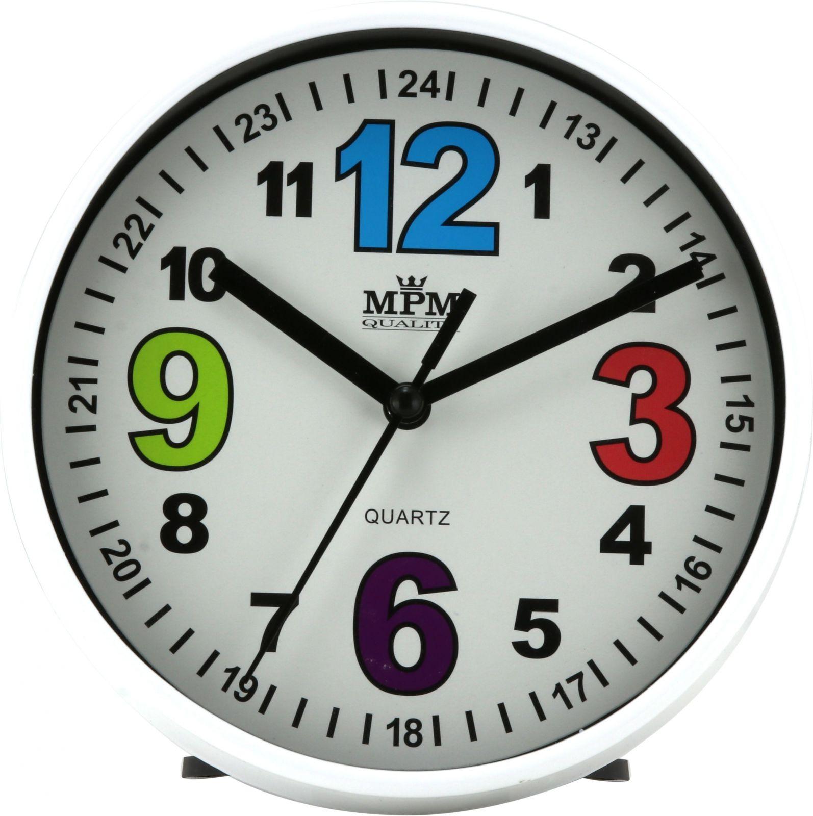 Malé plastové hodiny s možností zavěšení na zeď nebo postavení na stůl..058 00 - bílá
