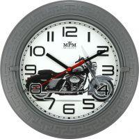 Nástěnné plastové hodiny s plynulým chodem a motivem motorky..045