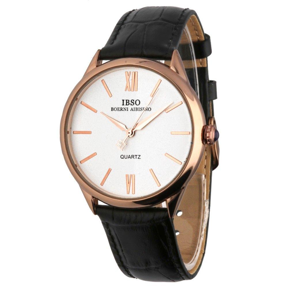 4f6ce1eae Módní hodinky s pouzdrem z růžového zlata a černým koženým řemínkem..019 A.