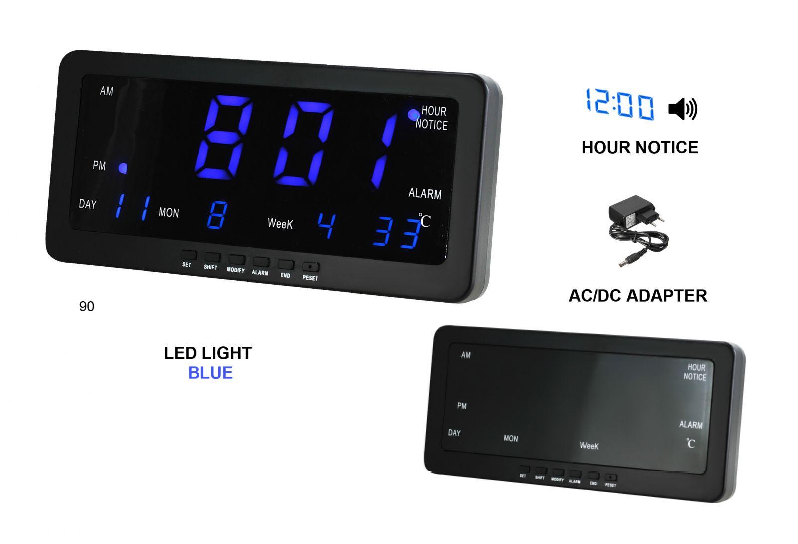 Digitální budík s modrými LED diodami, datem a teploměrem k postavení na stůl nebo pověšení na zeď s možností melodie každou celou hodinu.0108