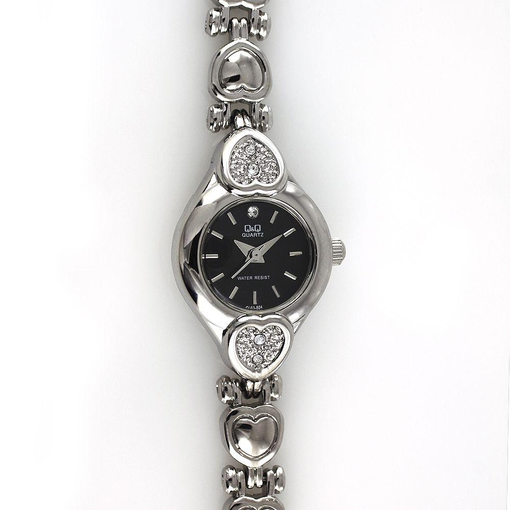 Dámské elegantní hodinky s motivy srdce, zdobené broušenými kamínky..0178