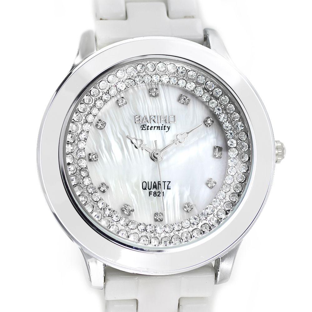 28a7e1c95fb Dámské zdobené hodinky se stříbrným číselníkem na bílém kovovém pásku..0126