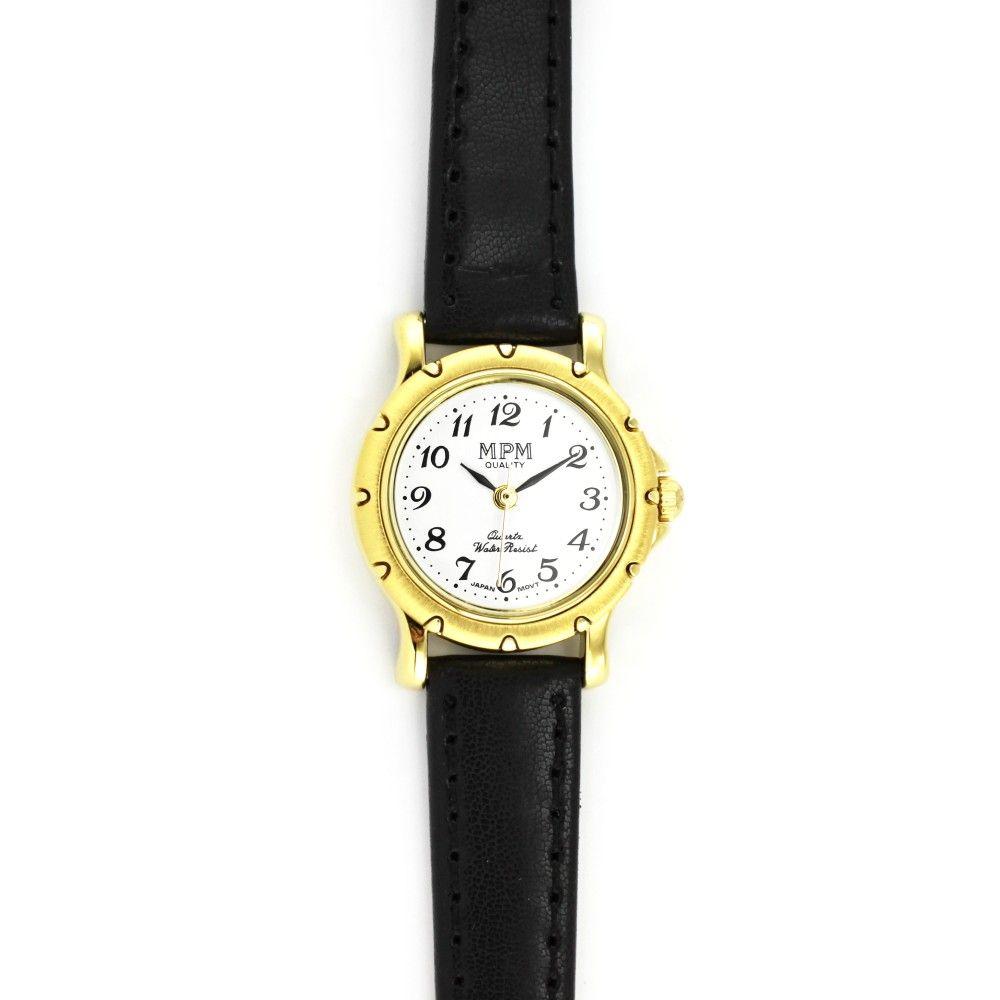 d83f97b55b Dámské společenské hodinky s černým koženým řemínkem a zlatým zdobeným  pouzdrem..057 H.