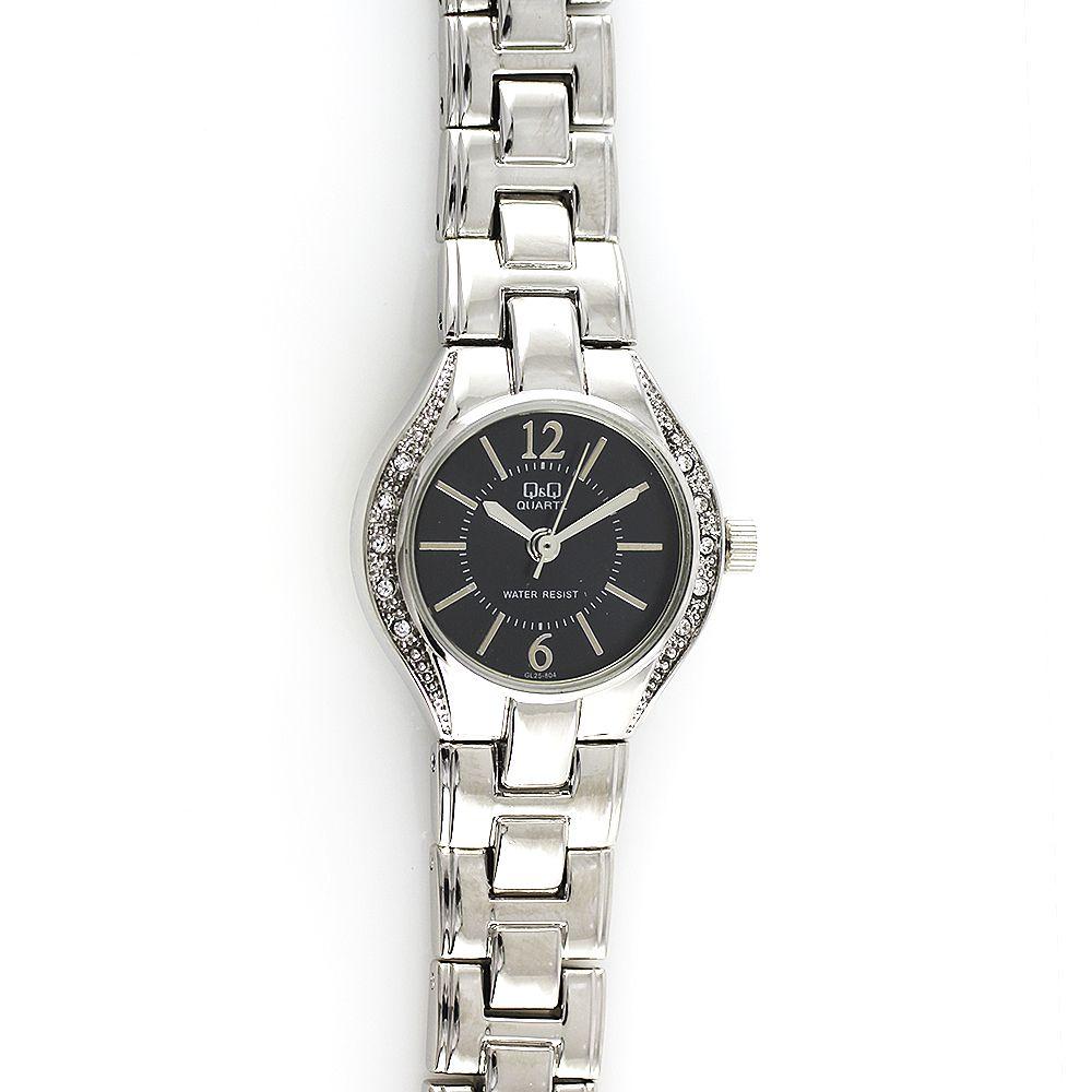 Dámské společenské hodinky s černým číselníkem po obvodu zdobené kamínky..0146