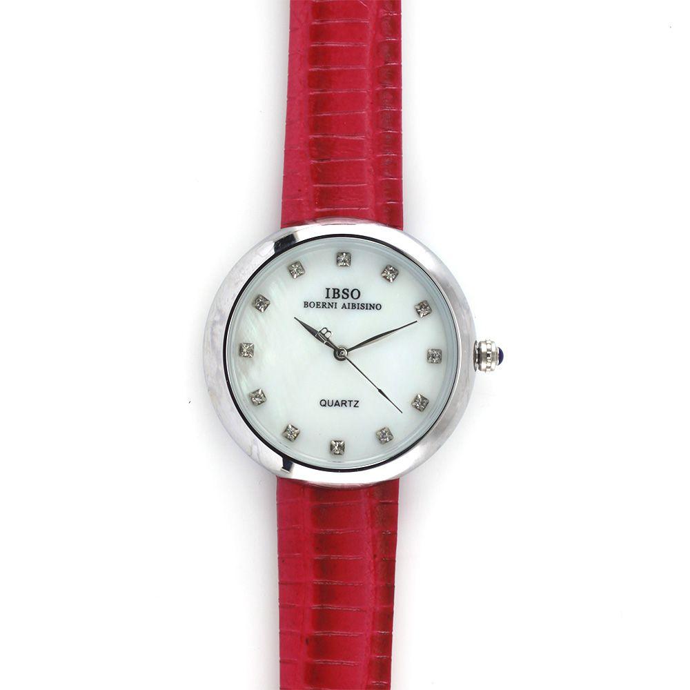 Nástěnné hodiny Modní barevné hodinky s koženým páskem a ciferníkem s zirkony místo indexů..086 Nástěnné hodiny