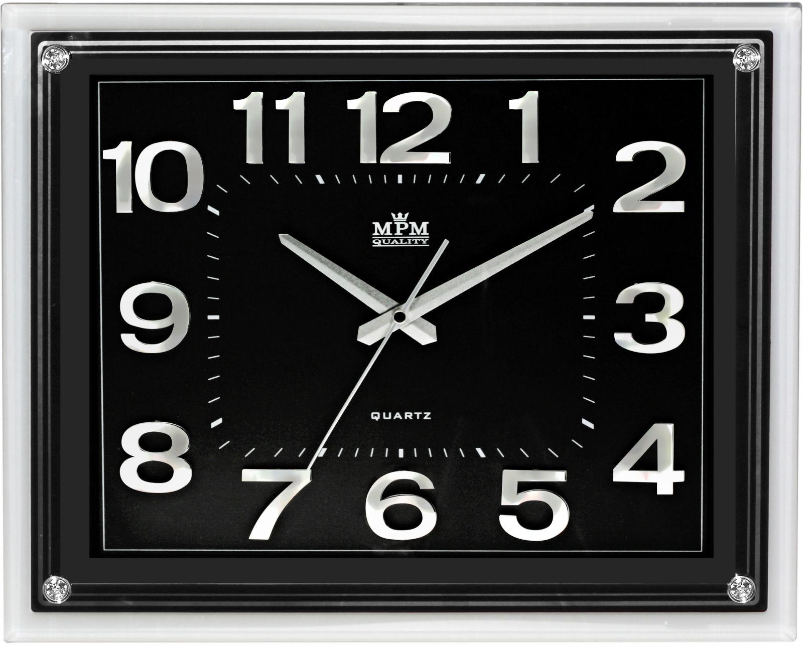 Hranaté nástěnné hodiny v elegantním rámu..0170 5000 - hnědá/bílá