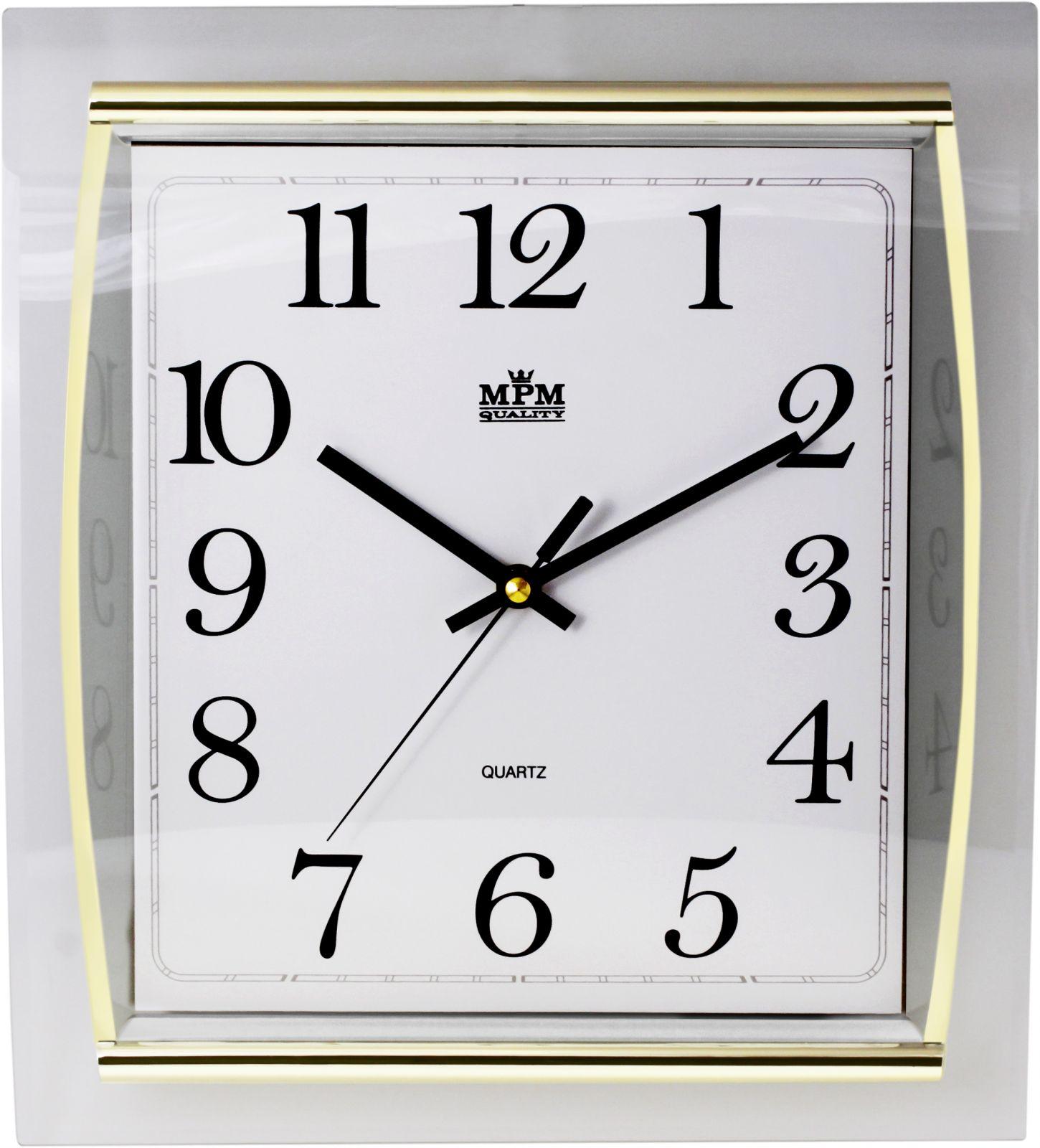 Hranaté nástěnné hodiny s plynulým chodem..0169 7100 - stříbrná lesklá/bílá