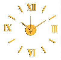 nástěnné nalepovací hodiny na zeď zlatá SKLADEM