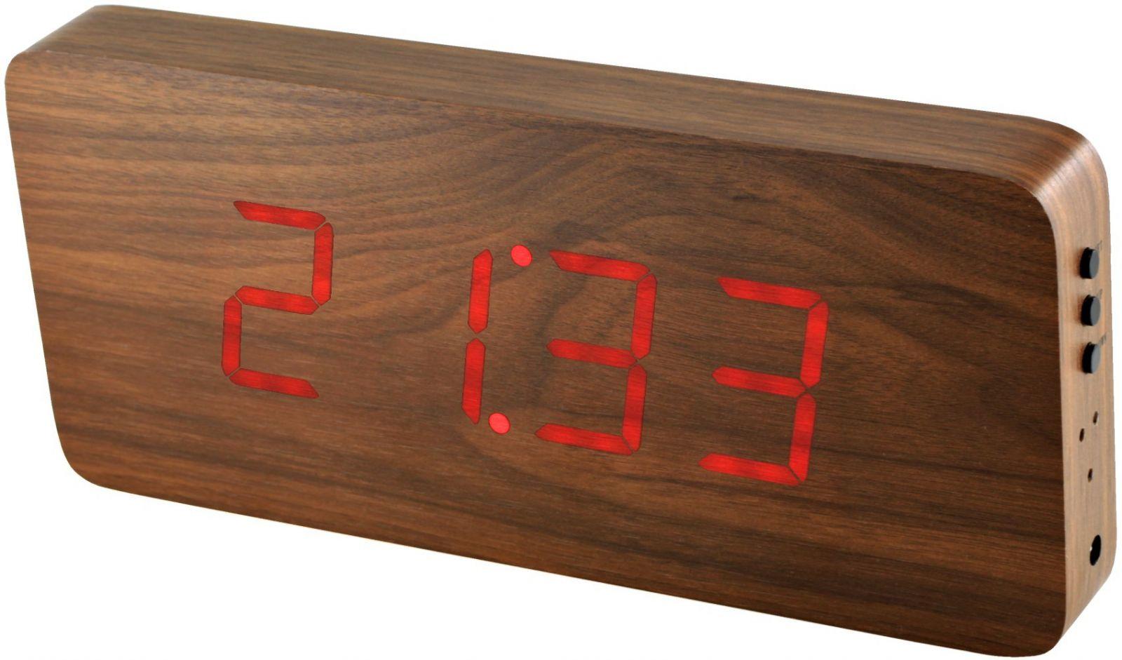 Dřevěný digitální budík s červenými LED diodami, datem a teploměrem k postavení na stůl nebo pověšení na zeď.0236 00. RED LED - bílá