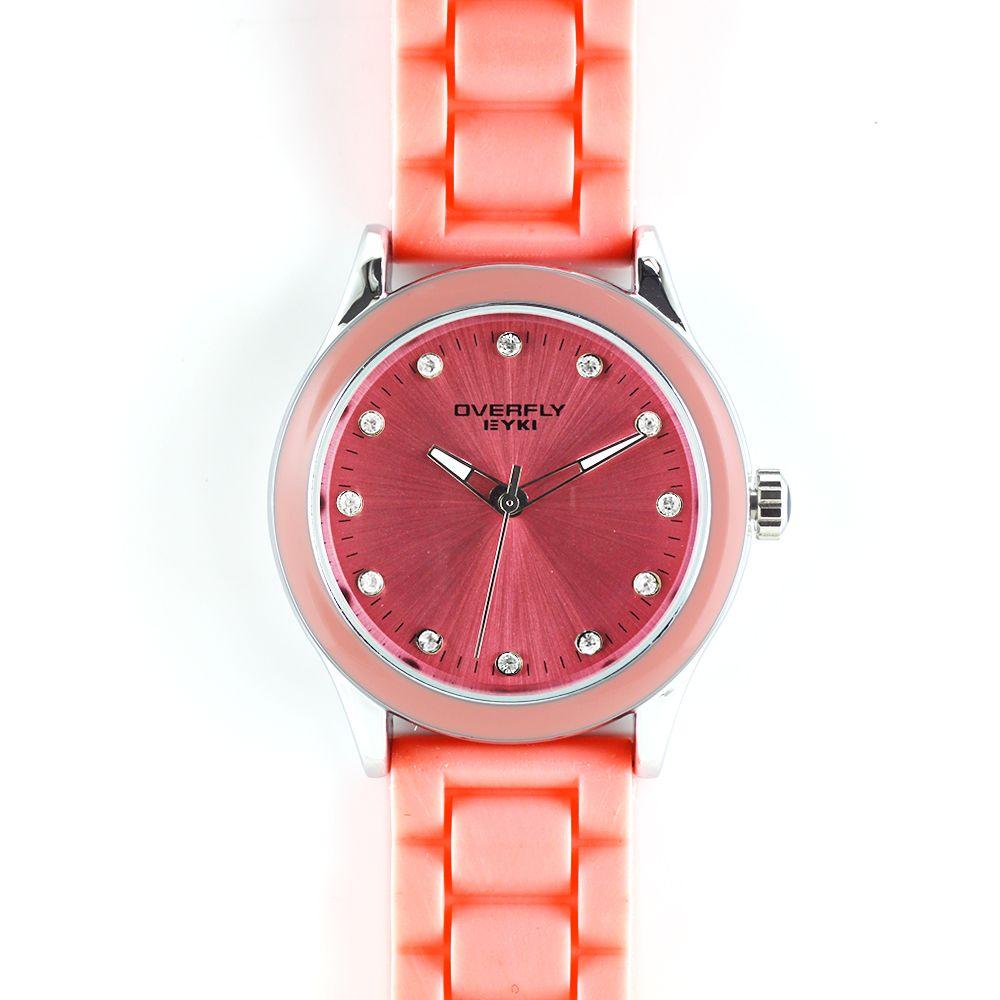 Barevně sladěné hodinky do lososové barvy se silikonovým řemínkem..0281 A.Q00I2370C23