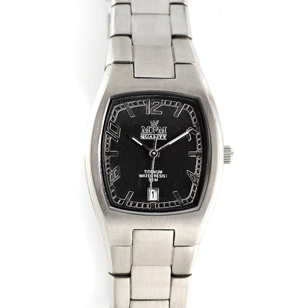 b1347281852 Dámské titanové hodinky s černým ciferníkem a datumem.0388 A.Q01F9071J94