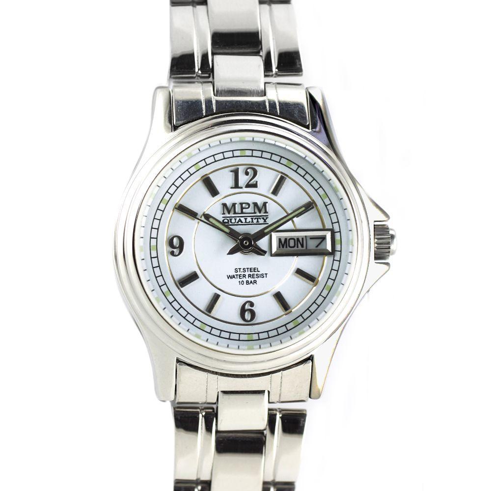 e1588168e28 Stylové dámské hodinky s ukazatelem dne i data a bílým číselníkem. Hodinky  z ušlechtilé oceli