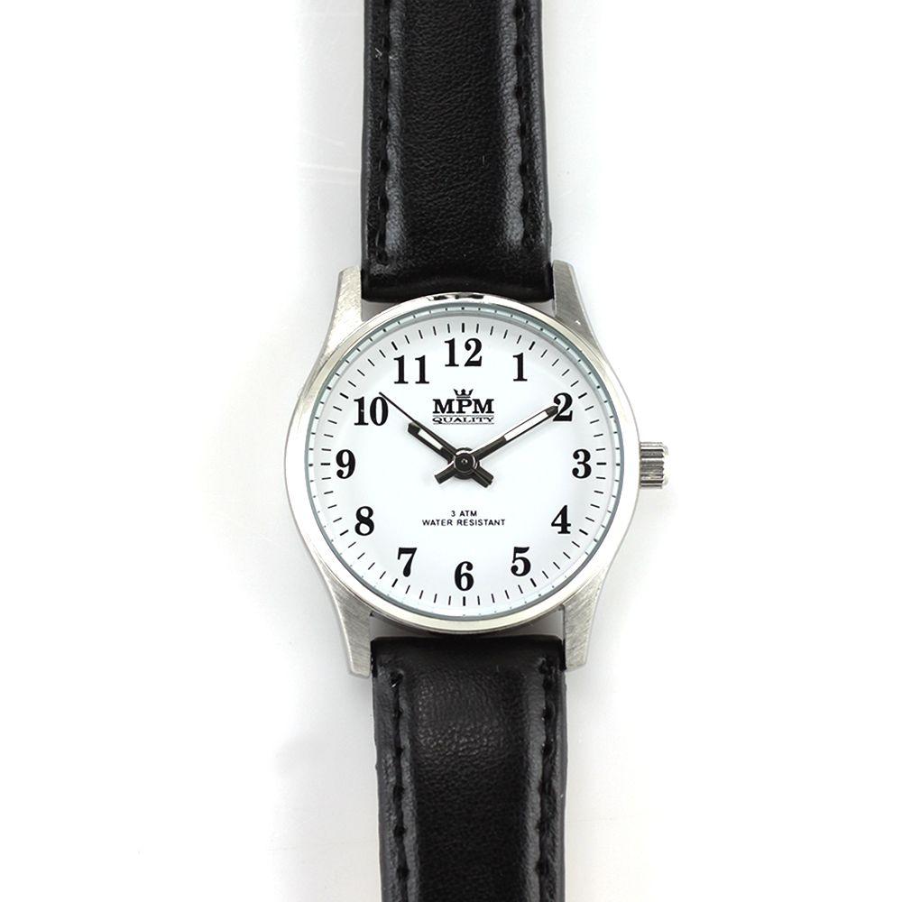 Nástěnné hodiny Dámské hodinky s černým koženým páskem..0330 Nástěnné hodiny