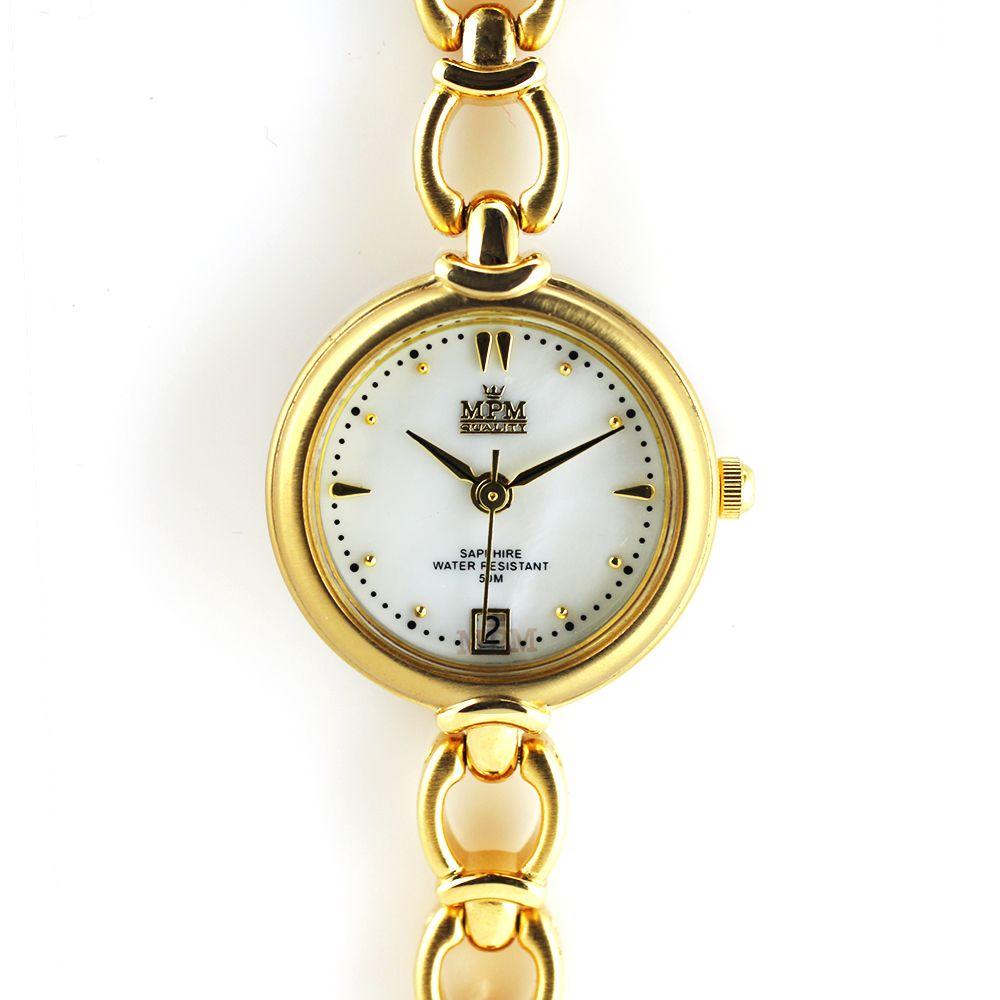 Nástěnné hodiny Dámské elegantní hodinky s datumem a perleťovým číselníkem..0348 Nástěnné hodiny