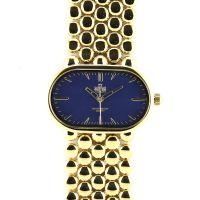 Dámské elegantní hodinky s modrým číselníkem a zlatými indexy..0234