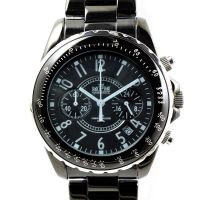 Nástěnné hodiny Pánské hodinky s chronografem a datem v černém ocelovém provedení.0406 Nástěnné hodiny
