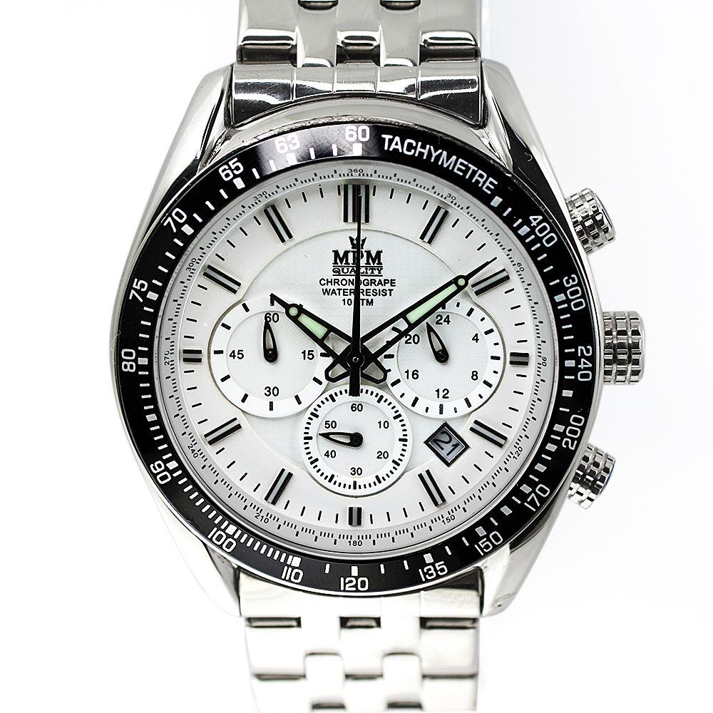 Nástěnné hodiny Pánské hodinky s chronografem, datem a bílým číselníkem.0416 Nástěnné hodiny