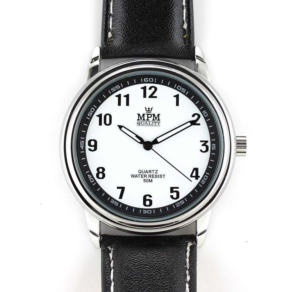 Pánské klasické hodinky s luminiscenčními ručičkami na černém řemínku..0239 A.Q00I0090B90